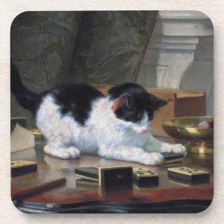 Playing Kitten by Henriëtte Ronner-Knip Drink Coaster