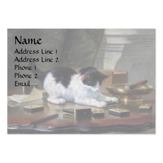 Playing Kitten by Henriëtte Ronner-Knip Large Business Card