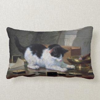 Playing Kitten by Henriëtte Ronner-Knip Throw Pillows