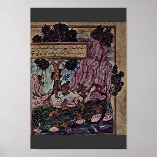 Playing Monkey By Indischer Maler Um 1570 Best Qu Poster