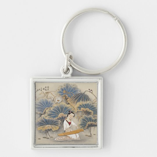 Playing Music by Lotus Pond Keychain