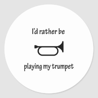 Playing My Trumpet Round Stickers