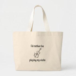 Playing My Violin Large Tote Bag
