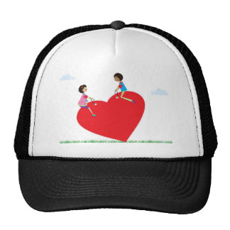 playing on a heart shaped see-saw trucker hat