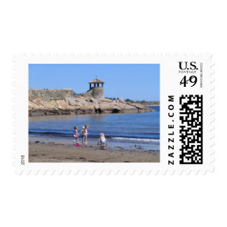 Playing On the Beach in Rockport, MA Stamp