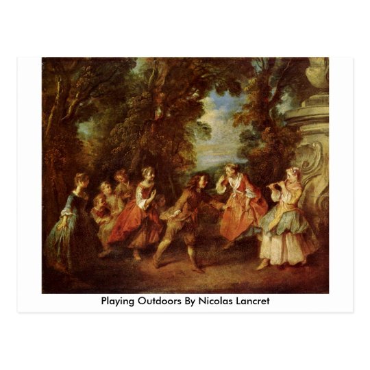 Playing Outdoors By Nicolas Lancret Postcard