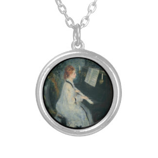Playing Piano by Candlelight Silver Plated Necklace