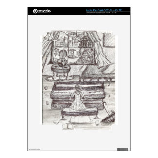 Playing piano on a rainy day iPad 3 decal