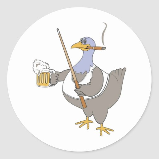 Playing Pool Shark Chicken Funny Classic Round Sticker