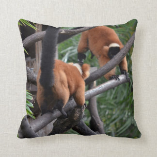 Playing Primates Red Bellied Lemurs Throw Pillow