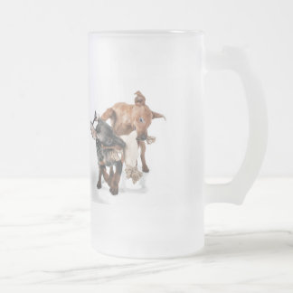 playing puppies frosted glass beer mug
