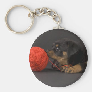 Playing Puppy 4 Keychain
