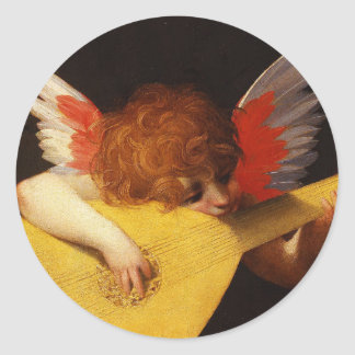 Playing putto (Musician Angel) by Rosso Fiorentino Classic Round Sticker