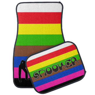 PLAYING SNOOKER modern font & colored stripes Car Mat