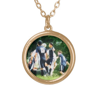 Playing Soccer Gold Plated Necklace