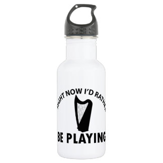 Playing the celtic harp 18oz water bottle