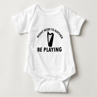 Playing the celtic harp baby bodysuit
