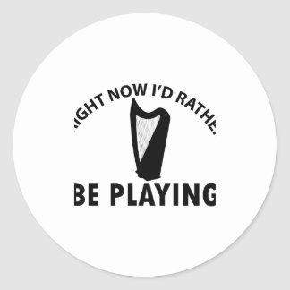 Playing the celtic harp classic round sticker