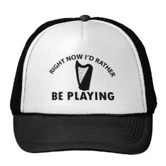 Playing the celtic harp trucker hat