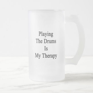 Playing The Drums Is My Therapy Frosted Glass Beer Mug