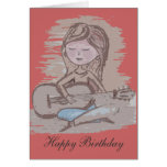 Playing the guitar greeting card