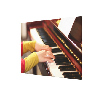Playing the Piano Stretched Canvas Print