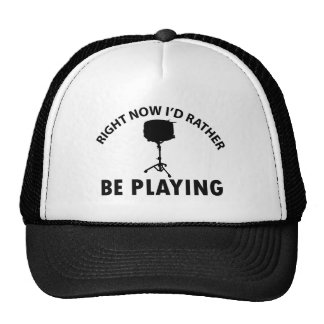 Playing the snare drum trucker hat