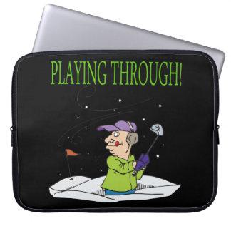 Playing Through Laptop Sleeve