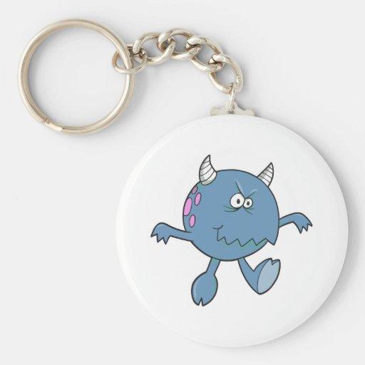 playing tough bluish monster friend basic round button keychain