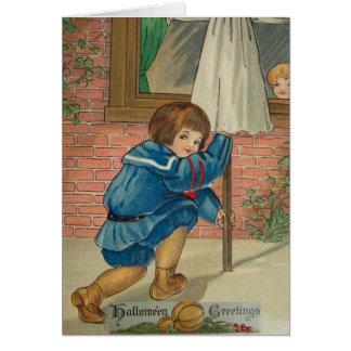 Playing Tricks (Vintage Halloween Card) Greeting Card