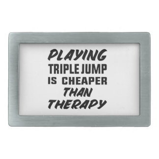 Playing Triple Jump is cheaper than therapy Rectangular Belt Buckle