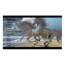 unicorn, horses, magic, fantasy, fairytale, tale, fable, creature, horn, myth, mythology, mare, stallion, equine, equus, steed, animals, mammal, mount, wild, herd, beast, beautiful, beauty, foal, charger, livestock, horsepower, colt, filly, gelding, bronco, courser, prancer, fawn, stag, doe, buck, image, picture, Cartão de visita com design gráfico personalizado