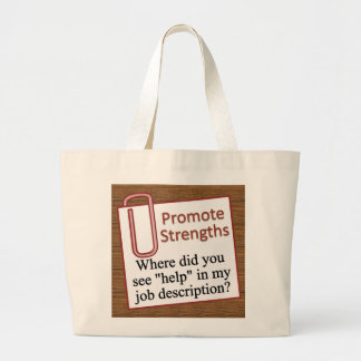 Playing up your strengths large tote bag