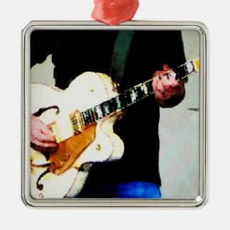 Playing White Guitar Closeup Square Metal Christmas Ornament