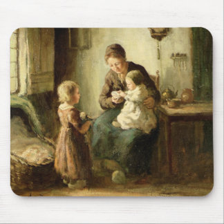 Playing with baby, 19th century mouse pad