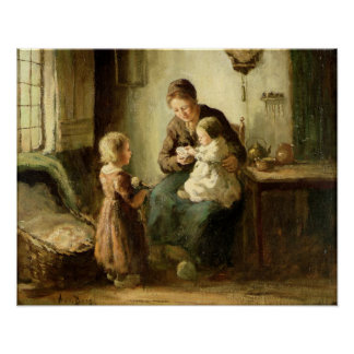 Playing with baby, 19th century poster