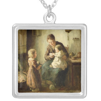Playing with baby, 19th century silver plated necklace