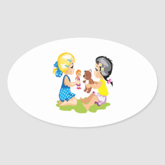 Playing With Dolls Oval Sticker