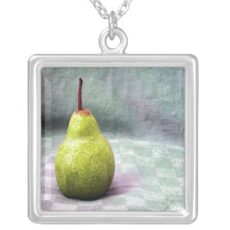 Playing with Food. Fruit. Pear Square Pendant Necklace