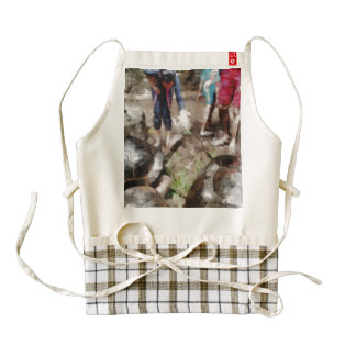 Playing with giant tortoises zazzle HEART apron