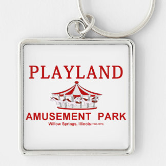 Playland Amusement Park, Willow Springs, Illinois Silver-Colored Square Keychain