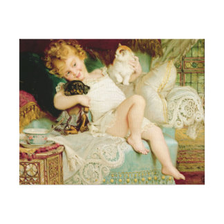 Playmates, from the Pears Annual, 1903 Canvas Print