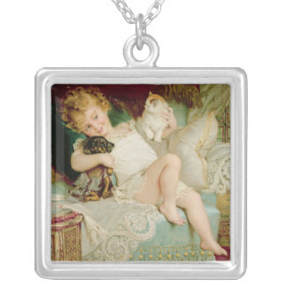 Playmates, from the Pears Annual, 1903 Square Pendant Necklace