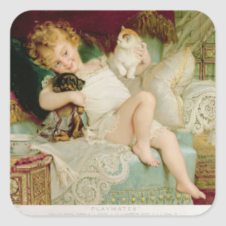 Playmates, from the Pears Annual, 1903 Square Sticker