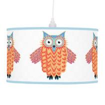 Playroom Cute Colorful Owl Cartoon Pendant Lamp