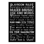 Playroom Rules Subway Art Poster