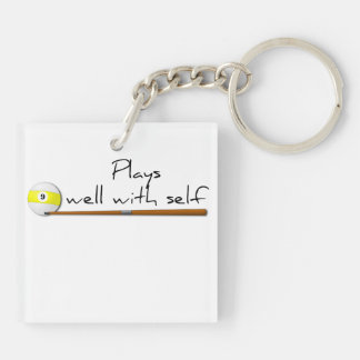 Plays Well, Funny Double-Sided Square Acrylic Keychain