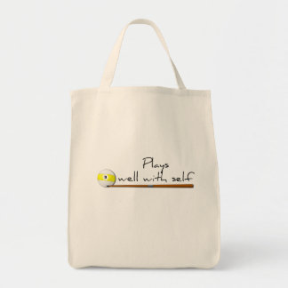 Plays Well, Funny Tote Bag