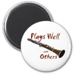 Plays Well with Others Clarinet 2 Inch Round Magnet