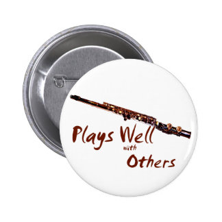 Plays Well with Others / Flute Pinback Button